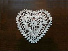 """This video is Part Two of how to crochet a Heart Mini Doily. Feel free to share this video and Please click """"Subscribe"""" to get updates of new videos. Thank You."""