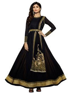 Buy Shilpa Shetty Black Anarkali Suit online from the wide collection of Salwar Kameez.  This Black  colored Salwar Kameez in Faux Georgette  fabric goes well with any occasion. Shop online Designer Salwar Kameez from cbazaar at the lowest price.