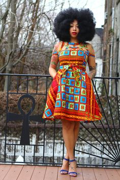 Nia  African Ankara Print Wax Print Dress
