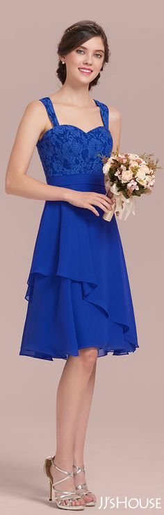This chiffon lace bridesmaid dress is so delicate! #JJsHouse #Bridesmaid
