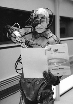 Patrick Stewart as Locutus assimilating a script on Set of Star Trek The Next Generation in 1990