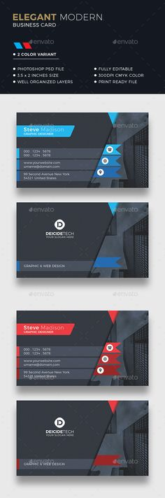 Business card design suitable for companies or personal use. Download here: https://graphicriver.net/item/corporate-business-card/20170567