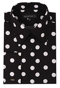 George's Men's Cotton Big Polka Dot Pattern With French Cuff Black-White Dot: cotton big polka dot pattern shirt with french cuff, 3 colors: white-navy dot, black-white dot, burgundy-white dot Polka Dot Shirt, Polka Dots, Stylish Outfits, Fashion Outfits, Men's Fashion, Rock Fashion, Fashion Ideas, Latest Clothes For Men, Men Dress