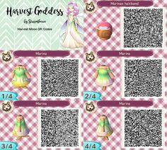 Harvest moon harvest goddess dress for Animal crossing new leaf erntegöttin marina fairy outfit flower leaf ombre hairband crown diadem qr code design by sturmloewe