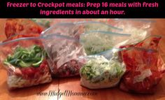 Prep 16 freezer to crockpot meals in an hour