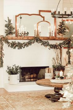 Cozy Christmas Living Room Tour - Beauty For Ashes : Come get inspired to create a cozy cottage Christmas living room. A winter wonderland of trees, a simple and elegant mantel, and lots of vintage details.