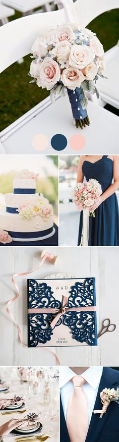 super elegant blush and navy spring and summer wedding color palettes