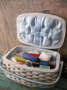 Vintage Sewing Box Full of sewing supplies .. Blue and Floral Basket
