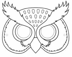 Coloring Pages Animal Masks Beautiful Owl Mask Owl Mask, Bird Masks, Printable Animal Masks, Animal Mask Templates, Face Outline, Black And White Owl, Paper Mask, Bird Theme, Animal Coloring Pages