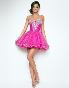 What a lovely bright pink short dress!