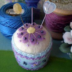 Purple, blue & white felt pincushion. <3