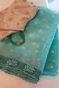 Colour Combination For Dress, Good Color Combinations, Cutwork Saree, Organza Saree, Cotton Saree Blouse Designs, Fancy Blouse Designs, Navy Blue Saree, Blue Blouse, Latest Saree Blouse