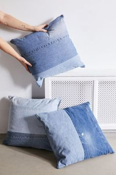 Crafted from reclaimed, vintage jeans, this patched denim throw pillow was made by our Urban Renewal team just for you. Jean Crafts, Denim Crafts, Diy Pillows, Floor Pillows, Throw Pillows, Pillow Ideas, Vintage Home Decor, Diy Home Decor, Room Decor