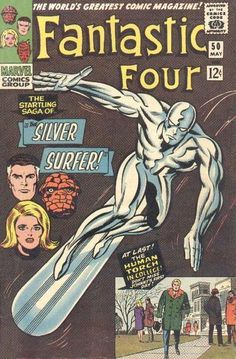 For sale silver age marvel comics fantastic four 50 silver surfer cover first wyatt wingfoot galactus jack kirby artwork stan lee emorys memories. Rare Comic Books, Vintage Comic Books, Comic Book Artists, Comic Book Covers, Comic Book Characters, Vintage Comics, Comic Books Art, Comic Art, Hulk Comic