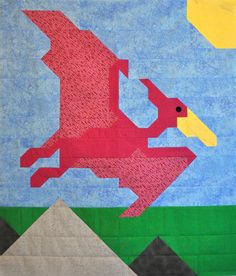 Dinosaur Quilt Pattern in multiple sizes crib to by CountedQuilts