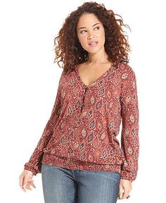 Lucky Brand Jeans Plus Size Top, Long-Sleeve Paisley-Print - Plus Size Tops - Plus Sizes - Macy's