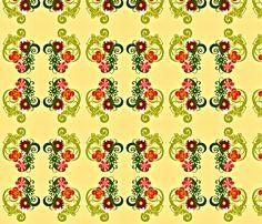 Girly Flower Power Geometric large repeat fabric by kfrogb on Spoonflower - custom fabric
