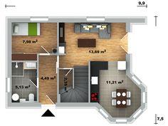 Pavla 9 | Ekonomické stavby Modern House Plans, Home Fashion, Architecture Design, Floor Plans, House Design, Small Homes, Pavlova, How To Plan, House Styles