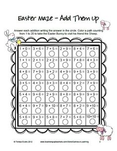 FREEBIE - Easter Math Mazes from Games 4 Learning These Easter themed printable worksheets each review a different operation.