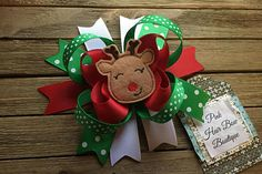 Reindeer Christmas hair bow   READY TO SHIP  Christmas hair