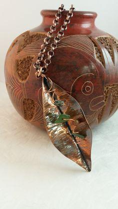 Fold Formed Copper Leaf Necklace- Boho copper Necklace
