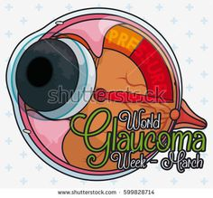 Poster with eyeball like manometer showing the high pressure in the eye interior, promoting World Glaucoma Week.