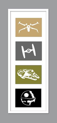 4 Star Wars Ship Silhouettes for Nursery/Boys Nursery/Millenium Falcon/DeathStar/Tie Fighter Set of 4 - Star Wars Death Star - Ideas of Star Wars Death Star - Decoration Star Wars, Star Wars Decor, Star Wars Wall Art, Star Wars Bedroom, Star Wars Nursery, Boy Star Wars Room, Nursery Boy, Elephant Nursery, War Quotes