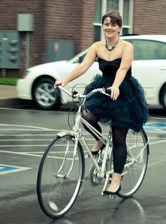 biking in a tutu