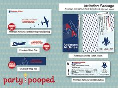 TOTALLY IN LOVE WITH THIS since my husband was an AA pilot! Printable Airplane Birthday Party Airline Ticket Invitation Package from the American Airlines Style Party Collection by Party Pooped. $24.00, via Etsy.