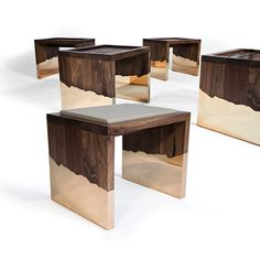 DIPPED - Contemporary stool / solid wood / walnut by Hudson Furniture