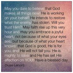 A prayer of encouragement by Susie Larson