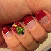 Sophisticated Facial & Nail Spa -  Honolulu, HI, United States Christmas tree nail art, red tips,glitter stripe