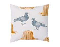 Pigeon and Jelly cushion in grey and mustard available from www.annabeljames.co.uk