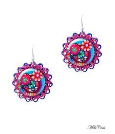 Flower pendant earrings - Blue and Pink earrings handmade in France by Milacrea