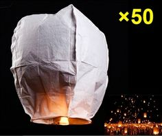 50 White Chinese Sky Lanterns