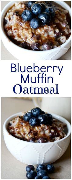 Blueberry Muffin Oatmeal. An easy overnight oatmeal recipe with tips on cooking oatmeal in a crockpot.