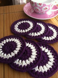 puff stitch crochet coasters - purple & cream by Tea at Weasel's, via Flickr