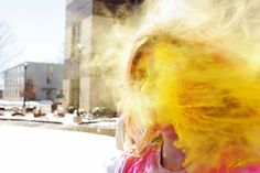 Celebrating Holi, or the Festival of Colors.