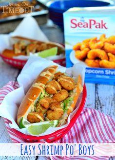 tonight special with Easy Shrimp Po' Boy Sandwiches! Shrimp Recipes, Fish Recipes, Sandwich Recipes, Poboy Sandwich Recipe, Recipies, Po Boy Sandwich, Shrimp Sandwich, Filet Mignon Roast, Shrimp Po Boy