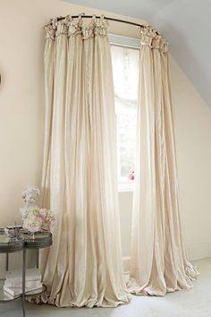 Balloon Drapery Panel - Window Coverings, Home Decor | Soft Surroundings  use a curved shower curtain rod.