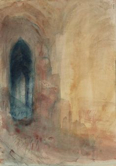 Joseph Mallord William Turner 'Interior of Church', 1845 Tate Gallery Joseph Mallord William Turner, Turner Painting, Painting & Drawing, Turner Watercolors, Watercolor Landscape Paintings, Watercolour, Tate Gallery, Art Graphique, Art History