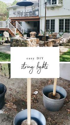 How to hang string lights in your backyard, patio, or deck. Backyard String Lights, Outdoor Hanging Lights, Backyard Lighting, How To Hang Patio Lights, Diy Patio, Backyard Patio, Backyard Ideas, Outdoor Ideas, Easy Garden