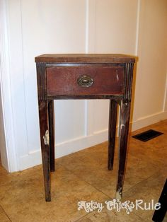 Hometalk | Antique Side Table, Renewed w/Annie Sloan Chalk Paint & Graphics