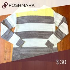 """Liz Claiborne Striped Sweater Dark grey along with tint grey stripped sweater and a pop a color yellow on top. NWOT Never worn. Comes with two slits on the bottom as you see in the photo. 100% Cotton Measurements- Chest: 18"""" hip: 19"""" length: 22"""" Liz Claiborne Sweaters"""