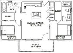 Small House Design Plans with 2 Bedrooms - House Plans S 2 Bedroom Floor Plans, Cottage Floor Plans, Small House Floor Plans, Farmhouse Floor Plans, Modern House Plans, Cabin Floor Plans, Country Farmhouse, Guest House Plans, House Plans One Story