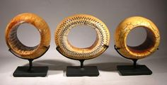 Custom display stands for a collection of 19th Century African (Sudan) ivory bracelets.