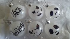 Set of 6 Glass Nightmare Before Christmas Ornaments by TulleyFab on Etsy