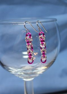 Pink and silver Byzantine Chainmaille Earrings | ENDCrafts - Jewelry on ArtFire