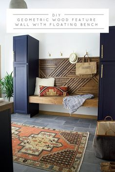 Learn how to add unique flare to your space with this geometric wood feature wall with floating bench using 1x2s!