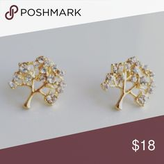 Dainty gold jewelry stud earrings 18k gold plated and CZ grade A  About half an Inch  Made in USA Alquimia Jewelry Earrings